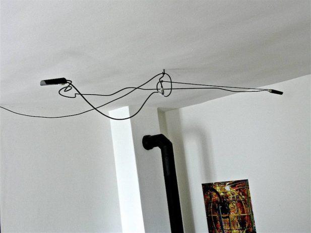 Heuerleuchter VII, 2011, 2-flammig, Rundeisen, Epoxid, ca.220 x 30cm