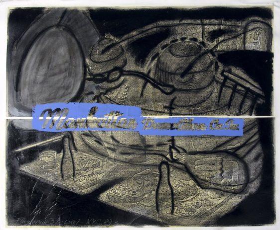 Flugmenue 3 & LKW NYC 1988, 80 x 120 cm, Kohle, Öl, Siebdruck auf Kopie