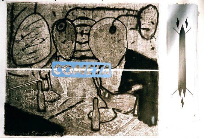 Flugmenue 5 & Autobus Brasil 1988, 80 x 120 cm, Kohle, Öl, Siebdruck auf Kopie
