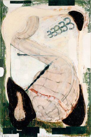 OT 1996, 210 x 140 cm, Öl, verschiedene Materialien auf Nessel