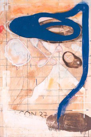 OT 1994, 210 x 140 cm, Öl, verschiedene Materialien auf Nessel