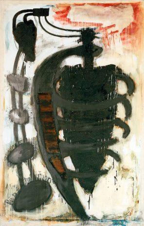 OT 1990, 210 x 140 cm, Öl, verschiedene Materialien auf Nessel