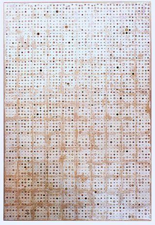 Pillenbild 1998, 210 x 140 cm, Öl, Lack, div. Materialien, auf Sperrholz