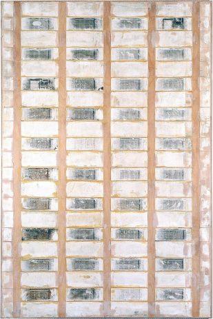 Hochhaus 1998, 210 x 140 cm, Öl, Lack, div. Materialien, auf Sperrholz