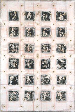 Knetformen 2 1998, 210 x 140 cm, Öl, Lack, div. Materialien, auf Sperrholz