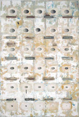 Dove 2002, 210 x 140 cm, Öl, Lack, div. Materialien, auf Sperrholz