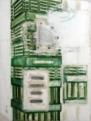 ASEA 2006, 210 x 140 cm, Öl, verschiedene Materialien auf Sperrholz