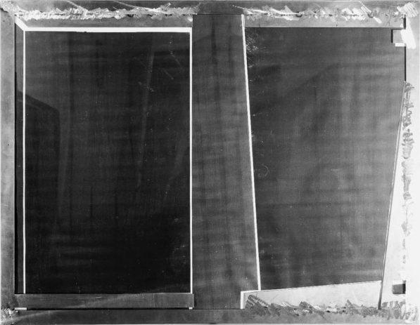 Testbild IV 1989, 100 x 130 cm, Kopie auf Nessel, Metall, Acryl