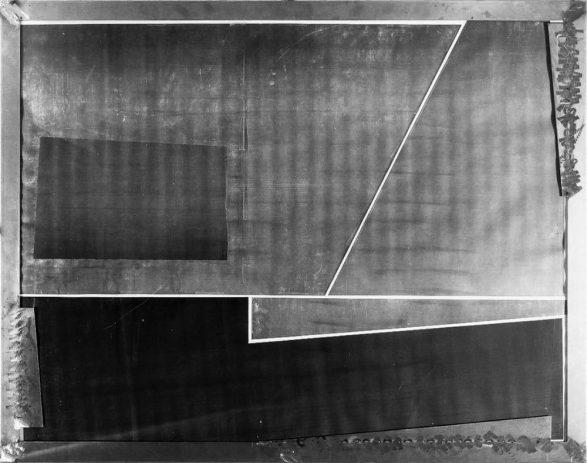 Testbild III 1989, 100 x 130 cm, Kopie auf Nessel, Metall, Acryl