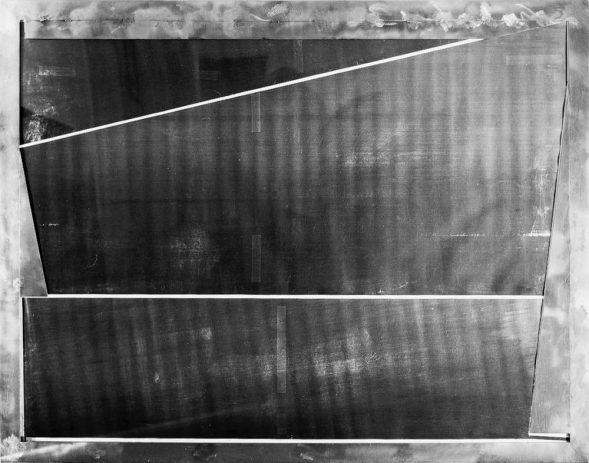 Testbild I 1989, 100 x 130 cm, Kopie auf Nessel, Metall, Acryl