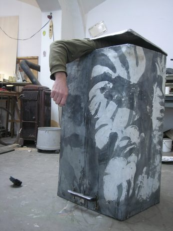 Monstera 2008, Arbeitsfoto  Öl, Lack auf Zinkblech, Aluminium, 40 x 55 x 95 cm