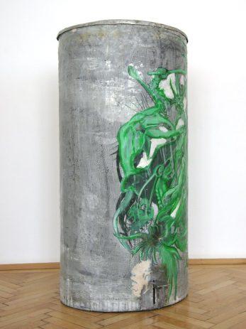 Antonius 2007, Öl, Lack auf Zinkblech, Aluminium 40 x 50 x 110 cm