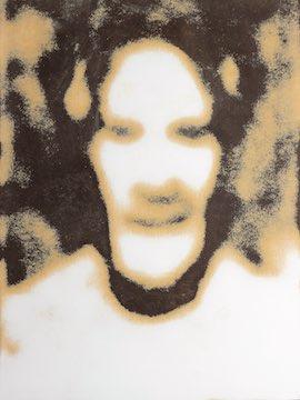 alain-badiou-les-gens-se-cramponnent-aux-identites-un-monde-a-l-opposede- la-rencontre,M40733.jpeg, 2013, Schichtstoffplatte, geschliffen, geritzt ca. 50 x 35 cm
