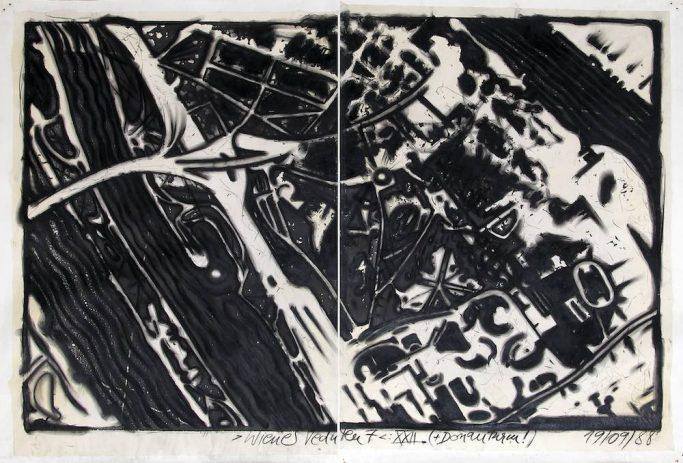 Wiener Veduten 7: XXII. (+Donauturm!)1988, Kohle auf Rollenkopie, 120 x 80 cm